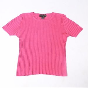 HOT Pink Silk Rbbed Short Sleeve tee/sweater
